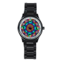 3d Glass Frame With Kaleidoscopic Color Fractal Imag Stainless Steel Round Watch by Simbadda