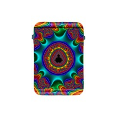 3d Glass Frame With Kaleidoscopic Color Fractal Imag Apple Ipad Mini Protective Soft Cases by Simbadda
