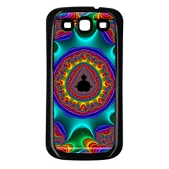 3d Glass Frame With Kaleidoscopic Color Fractal Imag Samsung Galaxy S3 Back Case (black) by Simbadda