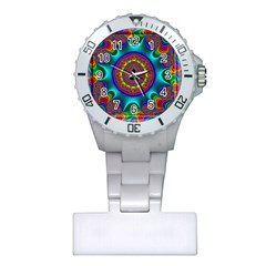3d Glass Frame With Kaleidoscopic Color Fractal Imag Plastic Nurses Watch by Simbadda