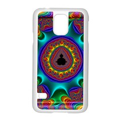 3d Glass Frame With Kaleidoscopic Color Fractal Imag Samsung Galaxy S5 Case (white)