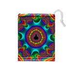 3d Glass Frame With Kaleidoscopic Color Fractal Imag Drawstring Pouches (Medium)  Front
