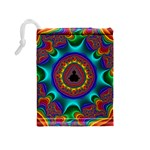 3d Glass Frame With Kaleidoscopic Color Fractal Imag Drawstring Pouches (Medium)  Back