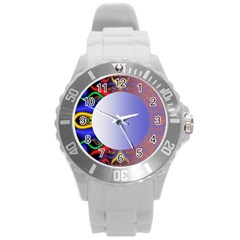 Texture Circle Fractal Frame Round Plastic Sport Watch (l) by Simbadda