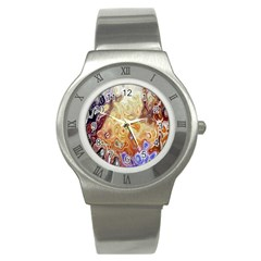 Space Abstraction Background Digital Computer Graphic Stainless Steel Watch by Simbadda
