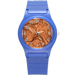3d Glass Frame With Fractal Background Round Plastic Sport Watch (s) by Simbadda