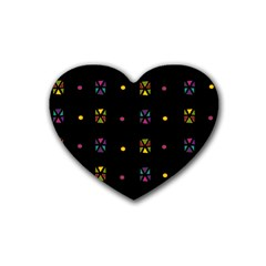 Abstract A Colorful Modern Illustration Black Background Rubber Coaster (heart)  by Simbadda