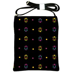 Abstract A Colorful Modern Illustration Black Background Shoulder Sling Bags by Simbadda