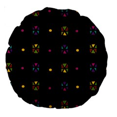 Abstract A Colorful Modern Illustration Black Background Large 18  Premium Round Cushions by Simbadda