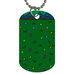 Green Abstract A Colorful Modern Illustration Dog Tag (two Sides)