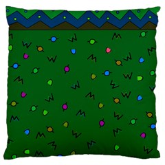 Green Abstract A Colorful Modern Illustration Large Flano Cushion Case (one Side) by Simbadda