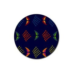Abstract A Colorful Modern Illustration Rubber Coaster (round)  by Simbadda