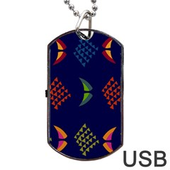 Abstract A Colorful Modern Illustration Dog Tag Usb Flash (two Sides) by Simbadda