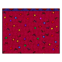 Red Abstract A Colorful Modern Illustration Rectangular Jigsaw Puzzl by Simbadda