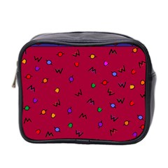 Red Abstract A Colorful Modern Illustration Mini Toiletries Bag 2 Side