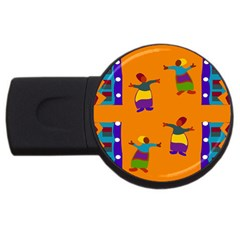 A Colorful Modern Illustration For Lovers Usb Flash Drive Round (2 Gb)