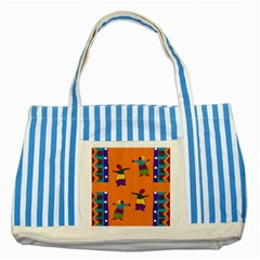 A Colorful Modern Illustration For Lovers Striped Blue Tote Bag by Simbadda
