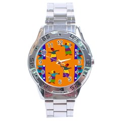 A Colorful Modern Illustration For Lovers Stainless Steel Analogue Watch