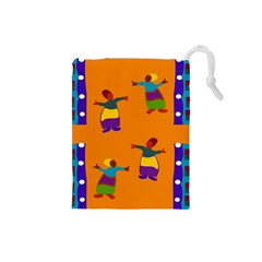 A Colorful Modern Illustration For Lovers Drawstring Pouches (small)  by Simbadda