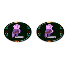 Owl A Colorful Modern Illustration For Lovers Cufflinks (oval) by Simbadda