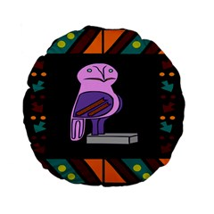 Owl A Colorful Modern Illustration For Lovers Standard 15  Premium Flano Round Cushions by Simbadda