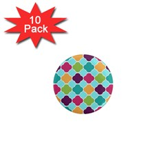 Colorful Quatrefoil Pattern Wallpaper Background Design 1  Mini Magnet (10 Pack)  by Simbadda