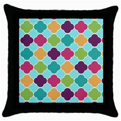 Colorful Quatrefoil Pattern Wallpaper Background Design Throw Pillow Case (black) by Simbadda