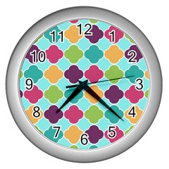 Colorful Quatrefoil Pattern Wallpaper Background Design Wall Clocks (silver)