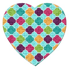 Colorful Quatrefoil Pattern Wallpaper Background Design Jigsaw Puzzle (heart) by Simbadda