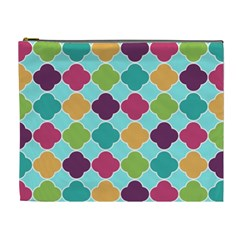 Colorful Quatrefoil Pattern Wallpaper Background Design Cosmetic Bag (xl) by Simbadda