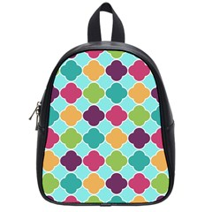 Colorful Quatrefoil Pattern Wallpaper Background Design School Bags (small)  by Simbadda