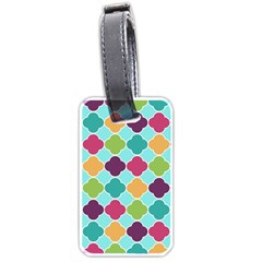 Colorful Quatrefoil Pattern Wallpaper Background Design Luggage Tags (two Sides) by Simbadda