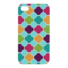 Colorful Quatrefoil Pattern Wallpaper Background Design Apple Iphone 4/4s Premium Hardshell Case by Simbadda