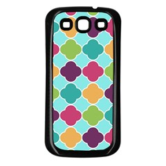 Colorful Quatrefoil Pattern Wallpaper Background Design Samsung Galaxy S3 Back Case (black) by Simbadda