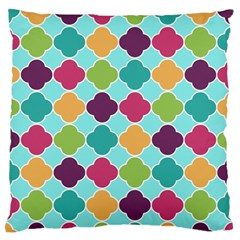 Colorful Quatrefoil Pattern Wallpaper Background Design Large Flano Cushion Case (two Sides) by Simbadda