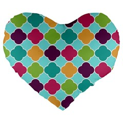 Colorful Quatrefoil Pattern Wallpaper Background Design Large 19  Premium Flano Heart Shape Cushions by Simbadda