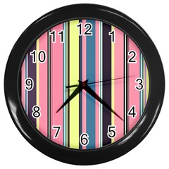 Seamless Colorful Stripes Pattern Background Wallpaper Wall Clocks (black)