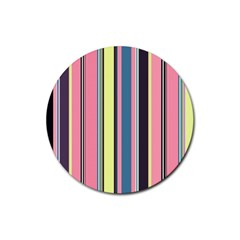 Seamless Colorful Stripes Pattern Background Wallpaper Rubber Coaster (round)  by Simbadda