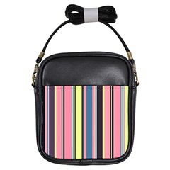 Seamless Colorful Stripes Pattern Background Wallpaper Girls Sling Bags by Simbadda
