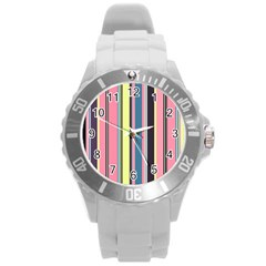Seamless Colorful Stripes Pattern Background Wallpaper Round Plastic Sport Watch (l) by Simbadda
