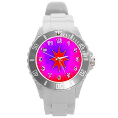 Pink Digital Computer Graphic Round Plastic Sport Watch (l) by Simbadda