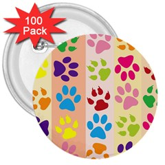 Colorful Animal Paw Prints Background 3  Buttons (100 Pack)  by Simbadda