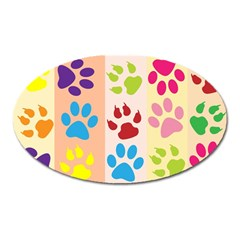 Colorful Animal Paw Prints Background Oval Magnet by Simbadda