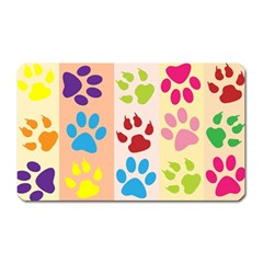 Colorful Animal Paw Prints Background Magnet (rectangular) by Simbadda