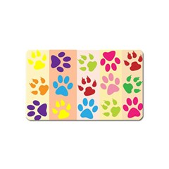 Colorful Animal Paw Prints Background Magnet (name Card)