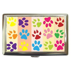 Colorful Animal Paw Prints Background Cigarette Money Cases by Simbadda