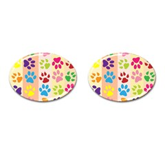 Colorful Animal Paw Prints Background Cufflinks (oval) by Simbadda