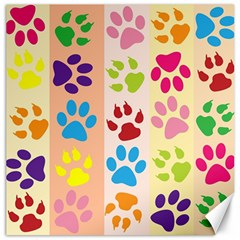 Colorful Animal Paw Prints Background Canvas 20  X 20   by Simbadda