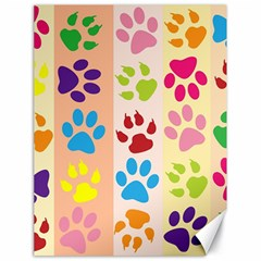 Colorful Animal Paw Prints Background Canvas 18  X 24   by Simbadda
