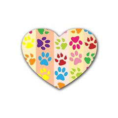 Colorful Animal Paw Prints Background Rubber Coaster (heart)  by Simbadda